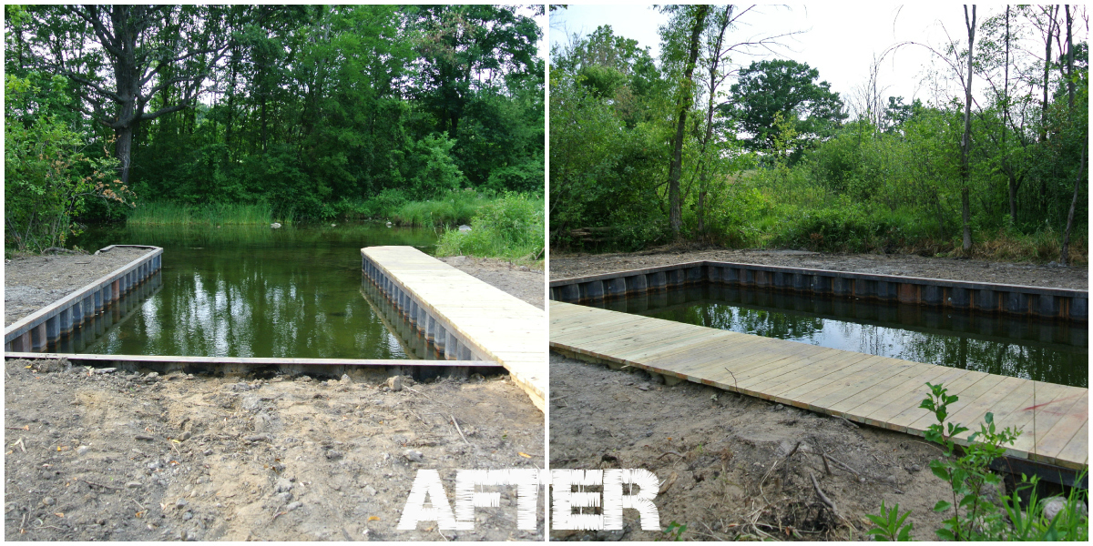 After completed black steel seawall_boat well_boardwalk on Shiawassee River MI