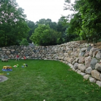 Boulder Wall in Backyard Brighton Residence