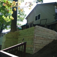 Wood Timber retaining wall for heavy slope