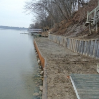 Seawall and retaining wall covering 3 properties in Ypsilanti, MI