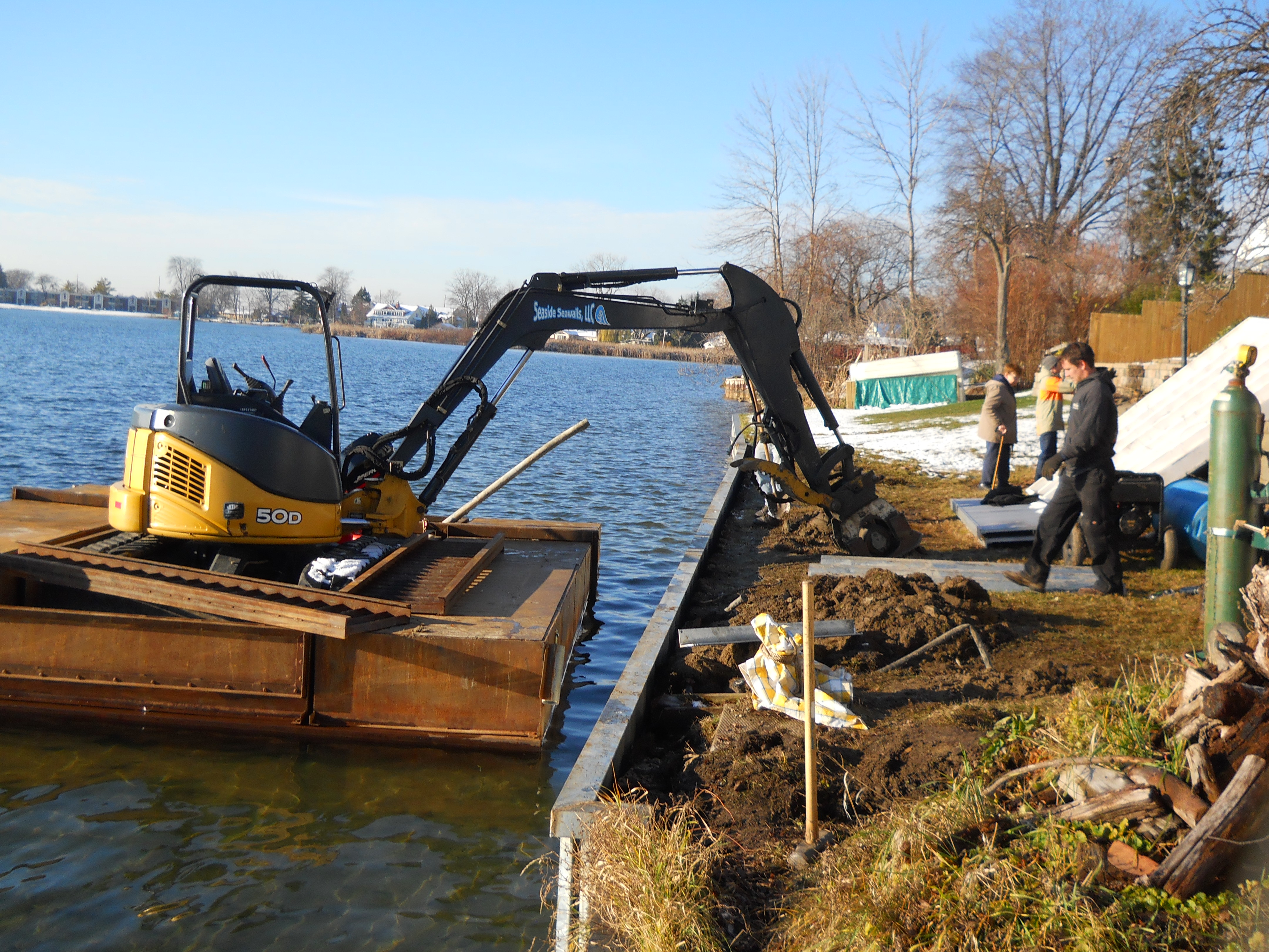 Building a galvanized steel seawall on Sylvan Lake_Oakland County_Michigan