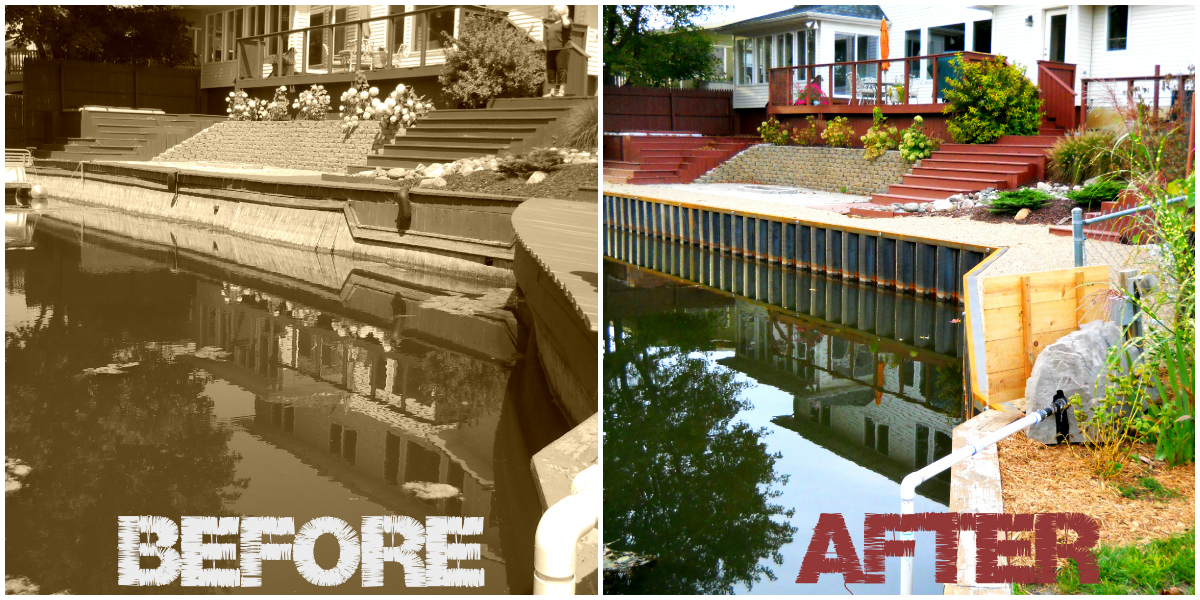 Black Steel Seawall on Grand River_Before and After