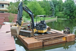 Excavator on a Barge_Grand River_Eaton County MI