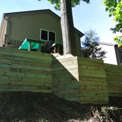 wood retaining wall on belleville lake