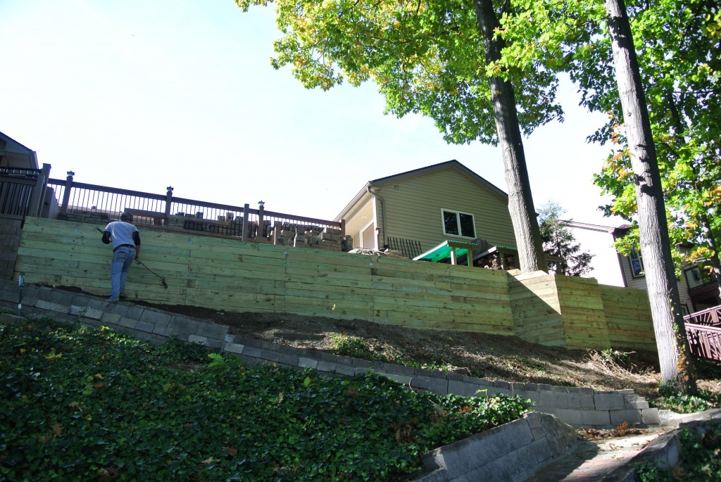 This wood timber retaining wall construction job was a big one